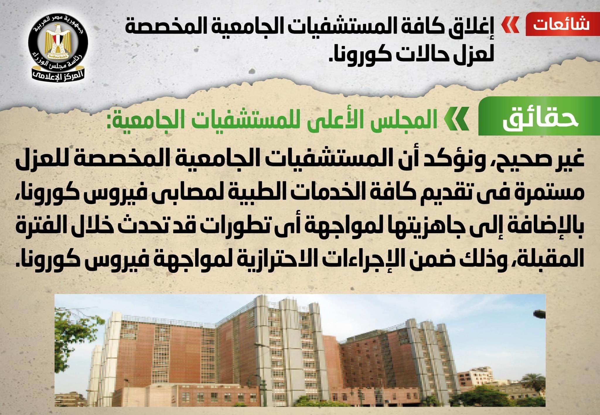 الوزراء لا صحة لغلق المستشفيات الجامعية المخصصة لعزل حالات كورونا