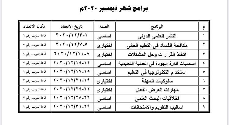برامج شهر ديسمبر 2020