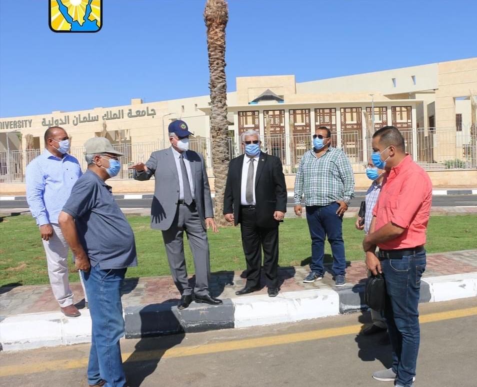 محافظ جنوب سيناء يتفقد اعمال التجميلبمحيط جامعة الملك سلمان