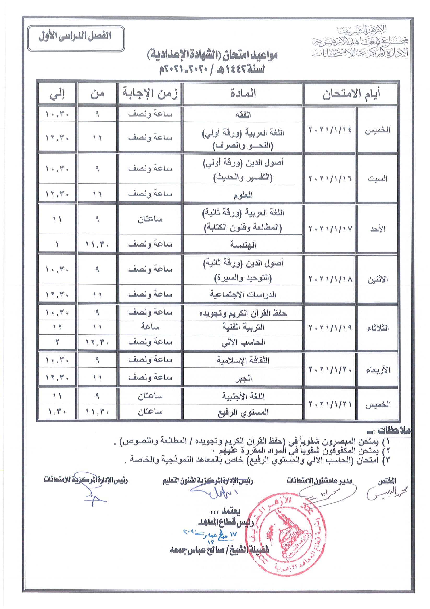 جداول مواعيد امتحانات صفوف النقل والشهادتين الابتدائية والإعدادية لقطاع المعاهد الأزهرية