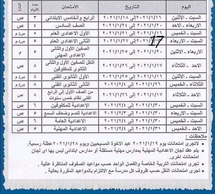"""أبرزها القاهرة والإسكندرية.. ننشر جداول امتحانات الفصل الدراسي الأول لطلاب 9 محافظات """"صور"""""""