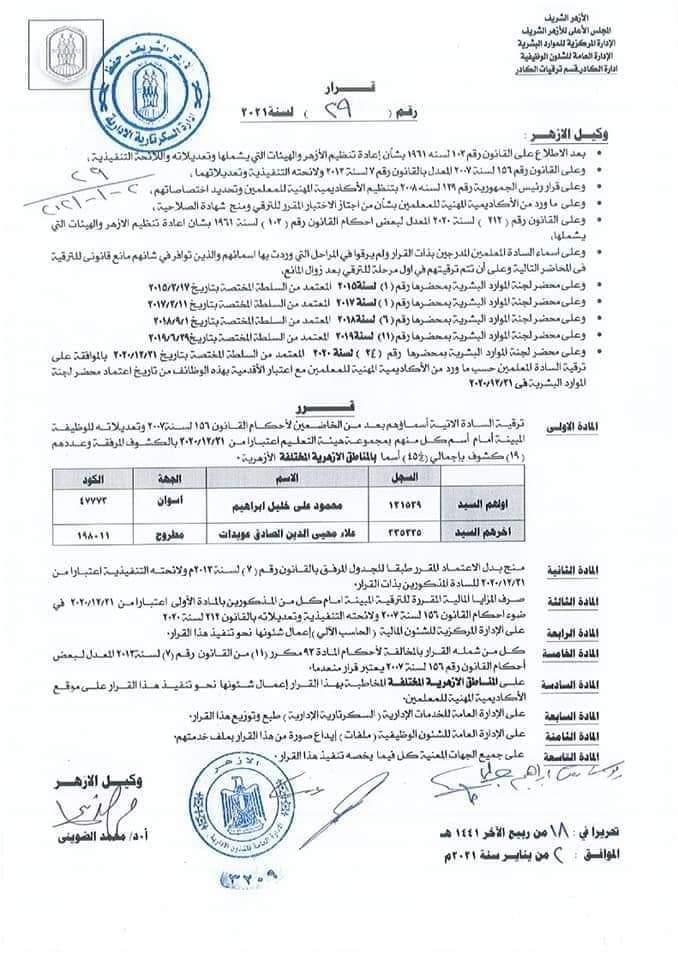 منطقة كفر الشيخ الأزهرية تعلن عن أسماء المعلمين المقبولين للترقية 2021