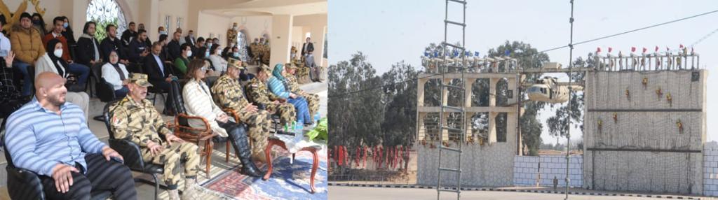 الوزيرة وشباب الدارسين يشاهدون عرض لقوات الصاعقة