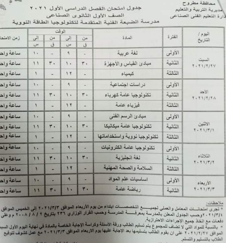 جدول امتحانات النقل لمدرسة التكنولوجيا النووية في الضبعة