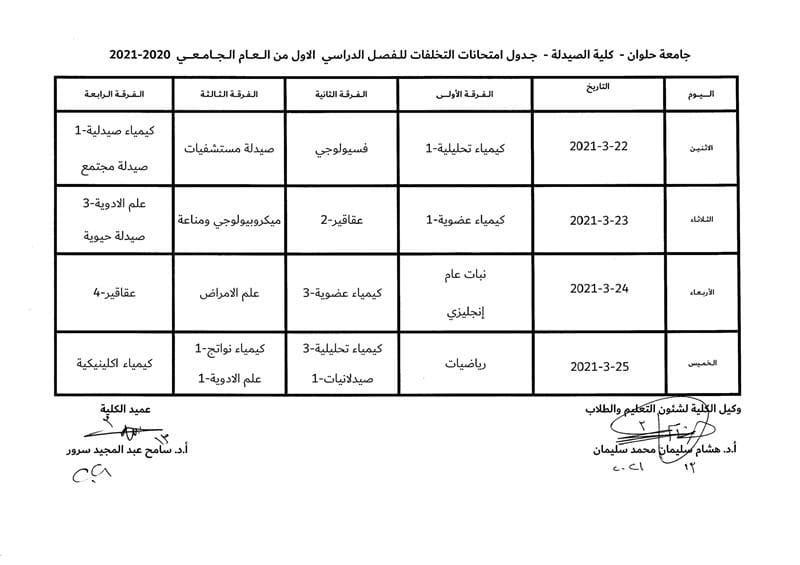 جدول امتحانات التخلفات للفصل الدراسي الأول من العام الجامعي 2020/2021