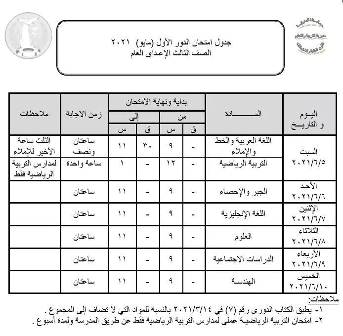 ننشر جدول امتحانات الشهادة الإعدادية بالمنوفية «صورة»