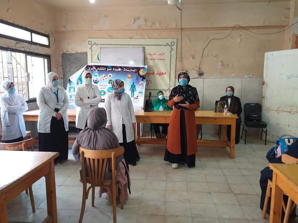 طالبات كلية تمريض الأزهر يقودن حملات توعية للوقاية من فيروس كورونا
