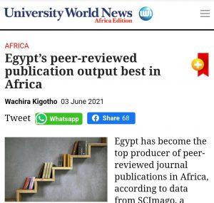 مجلة دولية تشيد بجهود مصر في تصدر القارة الأفريقية في النشر الدولي للبحوث العلمية