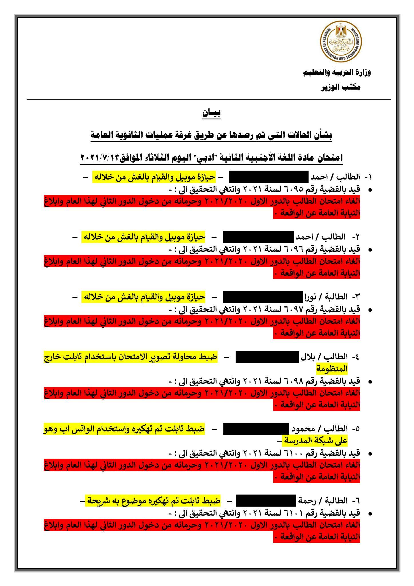 بالمستندات.. وزير التعليم ينشر بيانات طلاب الغش بامتحانات الثانوية العامة