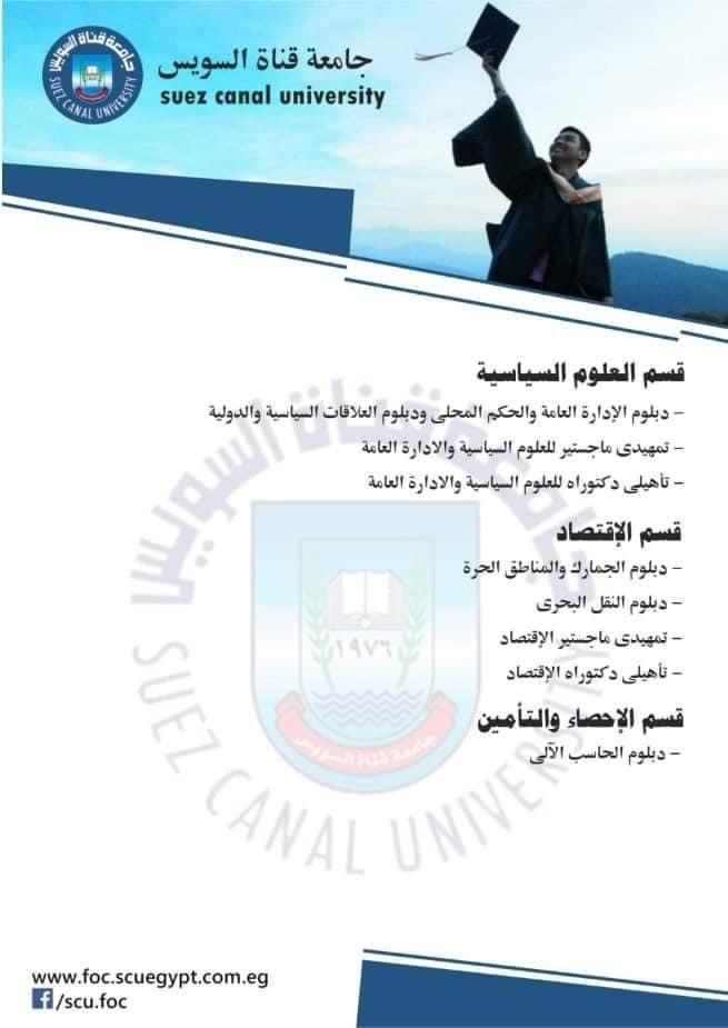 فتح باب التقدم للالتحاق ببرامج الدراسات العليا بتجارةً القناة